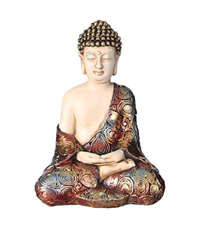 Oriental Figura Decorativa Buda Blanco/Oro