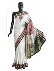 White Bomkai Orissa Silk Saree with All-Over Boota with Border and Gorgeous Pallu - Silk