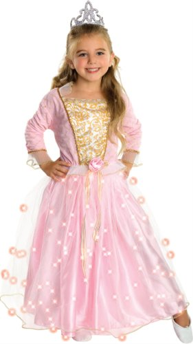 Child's Rose Princess Costume with Fiber Optic Light Twinkle Skirt - Medium