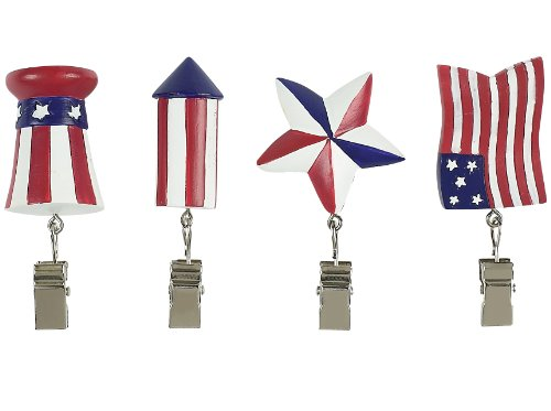 Boston Warehouse Flags Flying Patriotic Tablecloth Weight Set