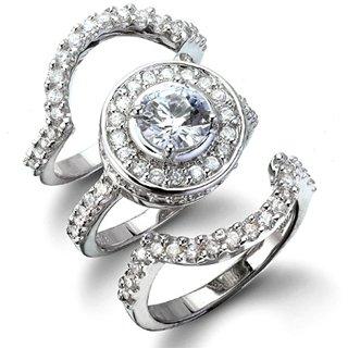 Cybill's Antique Style Three Ring CZ Wedding Set - 10