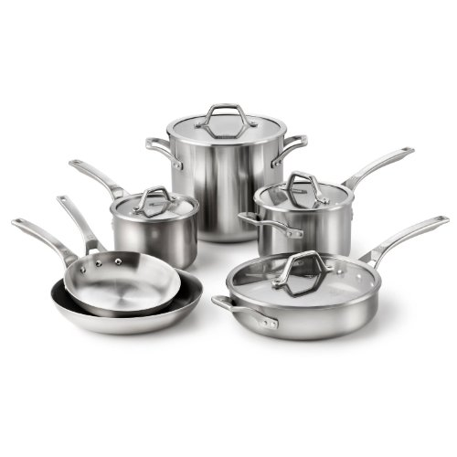 A useful collection for any discerning chef, this All-Clad D5 STAINLESS Brushed BDR 7-piece cookware set includes a Inch Fry Pan, Quart Sauce Pan with lid, 3-Quart Saute Pan with lid, and a 8-Quart Stockpot with lid.