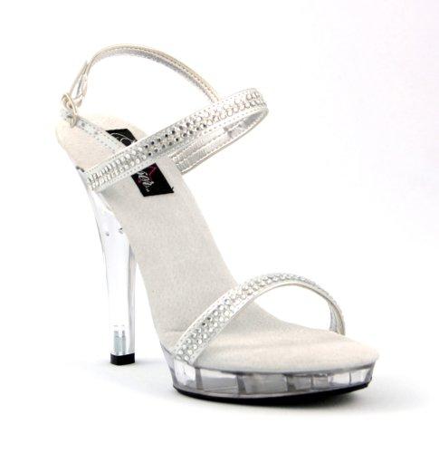 LIP-117, 5 Sexy Silver Mirror or Rhinestone Sandal in Sizes 5-16