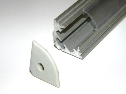 Aluminium Profile P3 For Led Strips / Tapes; Corner, Anodized Silver Finish With Milky Cover And Two End Caps; 1M / 100Cm