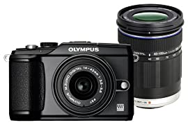 Olympus PEN E-PL2 Double Zoom Kit (Black Body & Black Lenses)