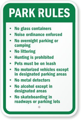 """Park Rules Sign, 18"""" X 12"""""""
