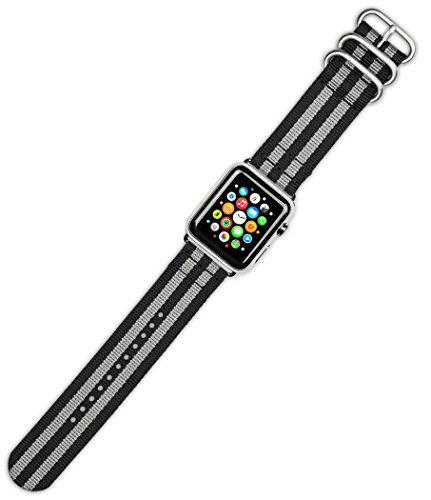 apple-watch-band-2-piece-military-nylon-black-with-grey-fits-42mm-series-1-2-silver-adapters