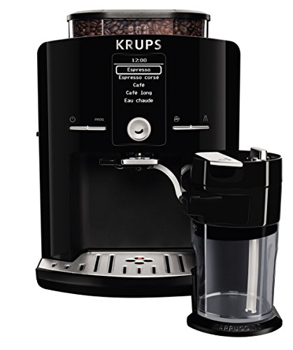 KRUPS EA8298 Fully Automatic Latte Espresso Compact Size Espresso Machine with Integrated Frothing Pitcher Cappuccino and Milk Frother, 57-Ounce, Black