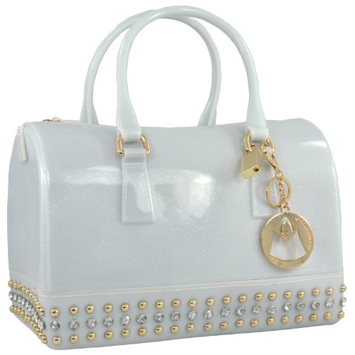 MG Collection Mila Glitter Studded Candy  Handbag, opaque white, One Size (Jelly Handbags Furla compare prices)