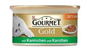 Gourmet Gold Katzennassfutter Zarte Haeppchen in Sauce mit Kaninchen in Karottensauce 85 g , 12er Pack (12 x 85 g)