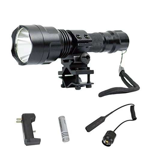 u-Box 2000LM C8 CREE XM-L T6 LED 5-Mod Flashlight Torch Lamp with Remote Switch Pressure Tail Switch Wire Extended Switch and Flashlight & Laser mount for Gun/Rifle/Shotgun plus 1x 18650 Rechargeable Batteries and AC Charger Complete Set