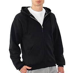Fruit of the Loom Best Collection™ Men\'s Fleece Full Zip Hood Medium BLACK/CHARCOAL HEATHER