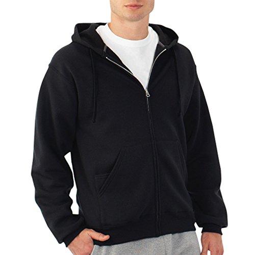 Fruit of the Loom Best Collection™ Men's Fleece Full Zip Hood Medium BLACK/CHARCOAL HEATHER (Medias Fruit Of The Loom Black compare prices)