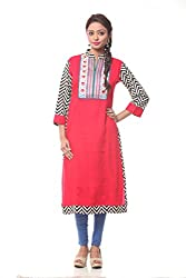 Lyla Cotton Red Kurti for Women(Size-Large)