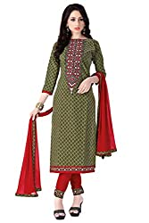 Justkartit Women's Green & Red Colour Simple & Sober Cotton Embroidery Dress Material / Simple Casual wear Salwar Kameez / Daily Wear High Quality Salwar Kameez ( Work wear Collection 2016)