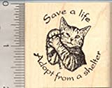Save a life, Cat Rescue Rubber Stamp