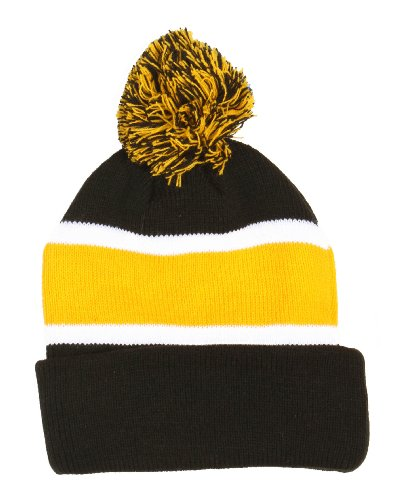 Simplicity New Stripe Pom Cuffed Beanie Knit Hat Skull Cap Unisex front-824460