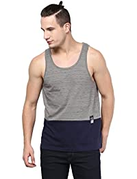 Atorse Mens Grey And Navy Cut And Sew Casual Sandos