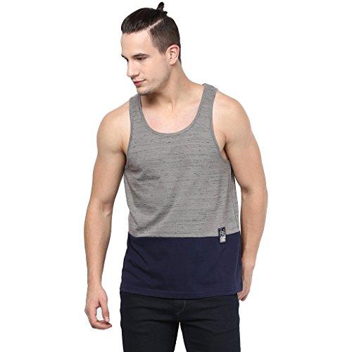 Atorse Mens Grey And Navy Cut And Sew Casual Sandos
