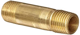 "Anderson Metals Brass Pipe Fitting, Long Nipple, 1/4"" x 1/4"" Male Pipe, 1-1/2"" Length"