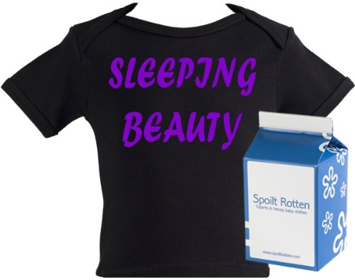 Spoilt Rotten - Sleeping Beauty Baby & Toddler Retro T-Shirt 100% Organic Sizes 0-6 months WHITE/BLACK in funky Milk Carton