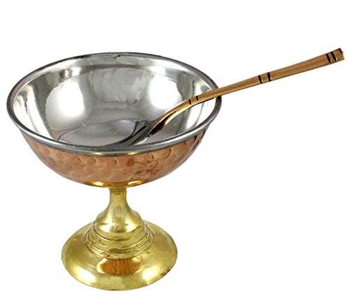 ensemble de 4, coupe d'accessoires de crème glacée avec la cuillère pour desserts à base de cuivre et en acier, diamètre 10 cm