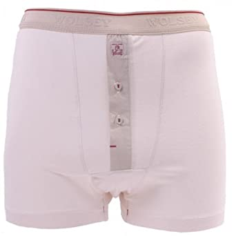 Mens Wolsey Vintage White Button Fly Cotton Boxer Short Trunk Underwear U340 (2XL)