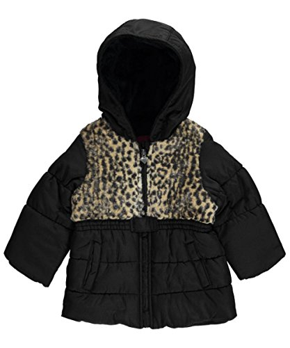 "London Fog Baby Girls' ""Leopard Chest"" Insulated Jacket - black, 12 months"