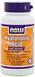 NOW Foods Hyaluronic Acid 100mg 2X Plus, 60 Vcaps , Pack of 4