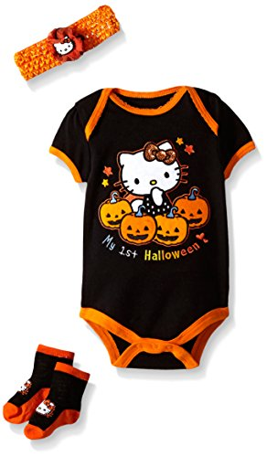 Hello-Kitty-Baby-Girls-Newborn-Halloween-Bodysuit-with-Headband-and-Socks