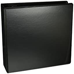 Samsill 4-Inch Antimicrobial Round Ring View Binder, Black (18290)