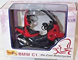 Maisto BMW C1 red motorcycle 1.18 scale diecast model