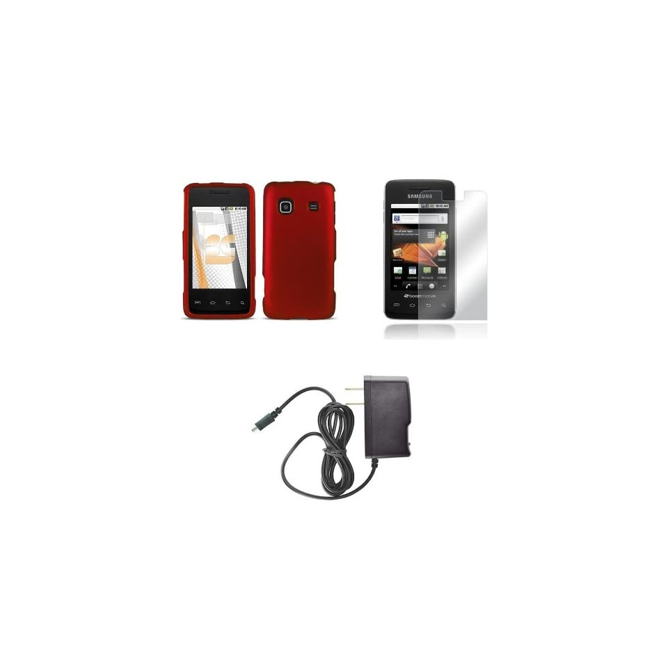 Samsung Galaxy Prevail (Boost Mobile) Premium Combo Pack   Red Rubberized Shield Hard Case Cover + FREE Atom LED Keychain Light + Screen Protector + Wall Charger