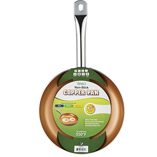Non-stick Copper Frying Pan CeramiTech with Ceramic Coating with Induction cooking,Oven & Dishwasher safe 9.5 Inches By Tiabo (Oven Skillet Small compare prices)