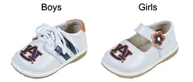 Squeak Me Shoes 4211 Boys' Auburn Sneaker Size: 3 (Toddler), Color: White