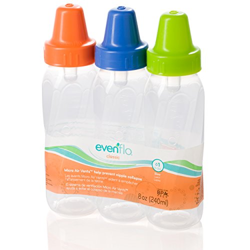 Evenflo 3 Pack Classic Clear Bottle Without Bpa, 8 Ounce (Colors May Vary) front-208961