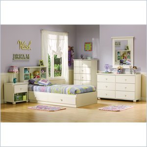 Cheap South Shore Sand Castle Pure White Kids Twin Wood Mates Storage Bed 4 Piece Bedroom Set (3660213-4PKG)