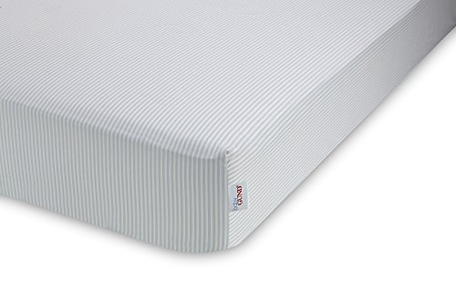 GUND Babygund Stripes Deluxe 300 Thread Count Crib Sheet, Stripes - Peek A Blue, 28'' By 52''