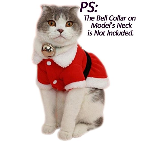Bolbove Pet Christmas Santa Claus Dress Costume for Small Girl Dogs & Female Cats Winter Coat Warm Clothes (Red, Small)
