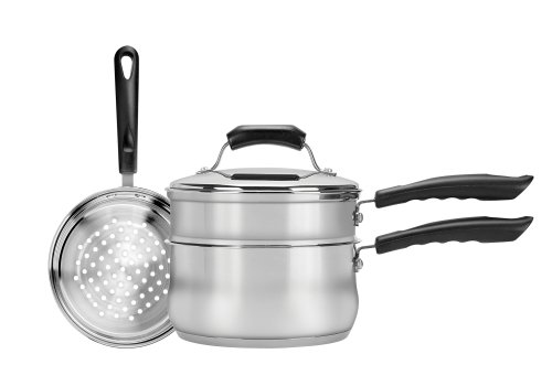 Range Kleen 4-Piece 3-Quart Sauce Pan with Lid, Steamer and Double Boiler Insert (Sauce Pan With Steamer compare prices)