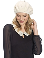 M&S Collection Pure Wool Pearl Beret Hat