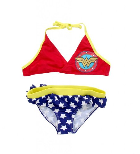 Wonder Woman Shield Halter Top and Skirted Bottom Girls Bathing Suit