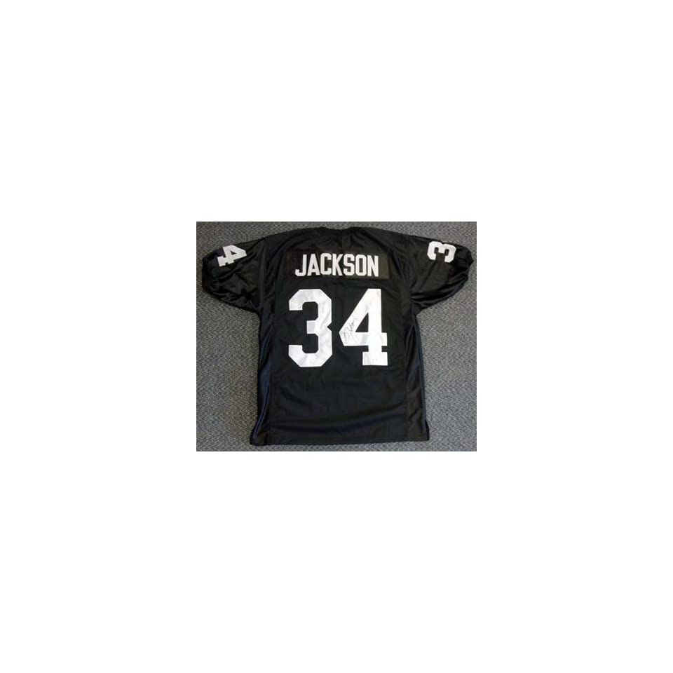 Bo Jackson Oakland Raiders NFL Hand Signed Authentic Black Home Jersey Sports Collectibles