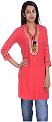 Geroo Women's Cotton Regular Fit Kurta (MKT-1502BAZ, Orange, XL)