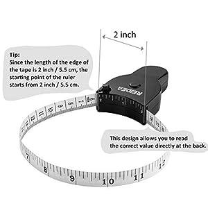 Body Measure Tape 60inch (150cm), Lock Pin and Push-Button Retract, Ergnomic and Portable Design, Black. (Color: White, Tamaño: 1 Pack)