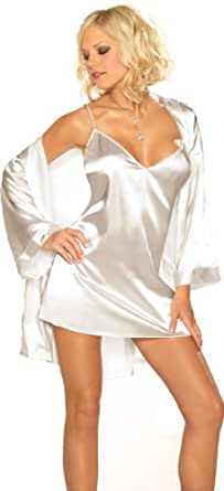 Sexy Lingerie Sleepwear Set - White Charmeuse Babydoll and Robe - Small