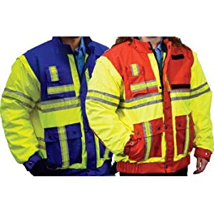 "Ultra-X High Visibility Class II Saftey Bomber Jacket (XL (42-44"" chest), Red/Yellow)"