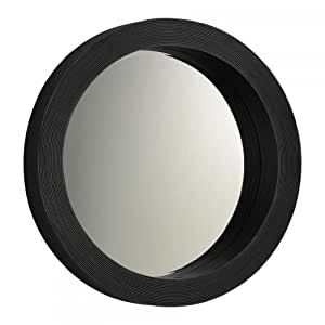 Wide Wood Wall Round Mirror 04068