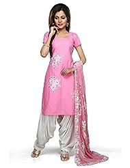 Utsav Fashion Women's Pink Cotton Readymade Kameez With Patiala-XX-Small