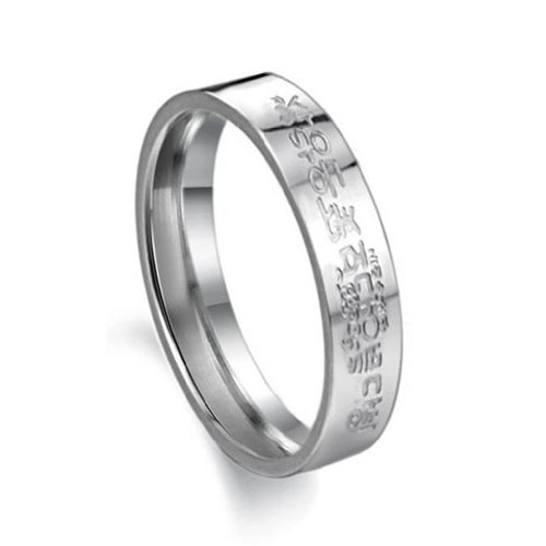 Fashion Jewelry 316L Stainless Steel Rings Stamp Korea Note Couple Promise Mens Ladies Wedding Band (Ladies' Size 7)